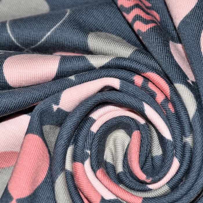 Jersey, bombaž, baloni, 21777-15, roza siva