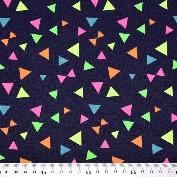 Jersey, bombaž, geometrijski, 21840-008, temno modra
