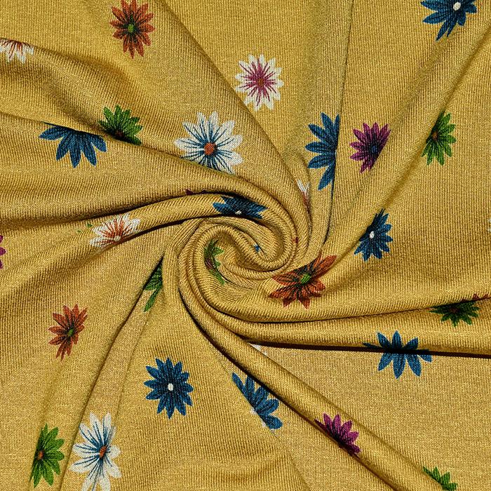 Jersey, viskoza, cvetlični, 21847-037, rumena
