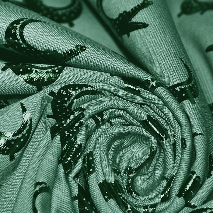 Jersey, bombaž, živalski, 21856-022, zelena
