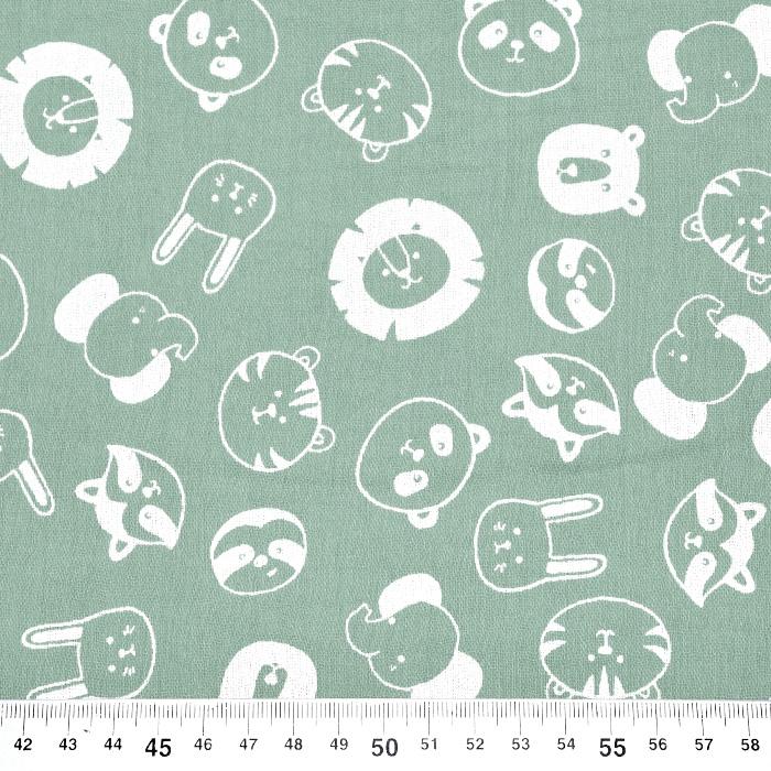 Tetra tkanina, dvojna, živalski, 21858-022, mint