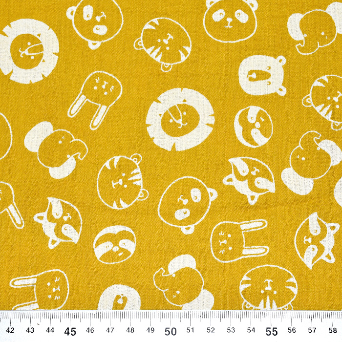 Tetra tkanina, dvojna, živalski, 21858-034, rumena