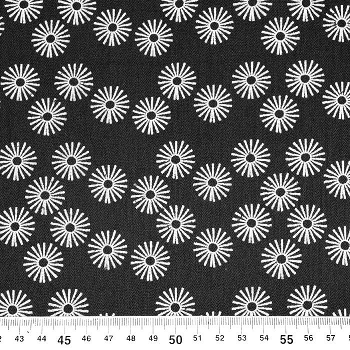Tetra tkanina, dvojna, cvetlični, 21859-069, črna