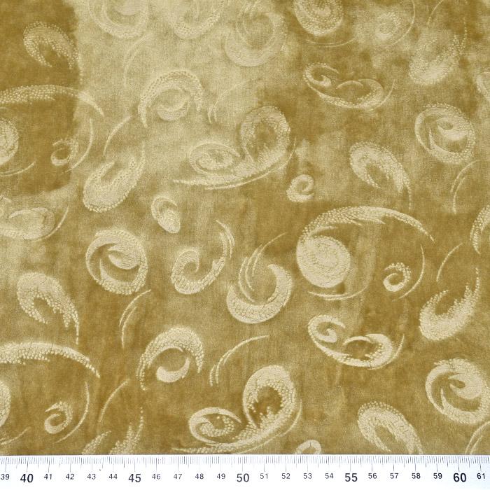 Pliš, poliester, ornamentni, 21863-037, rumena
