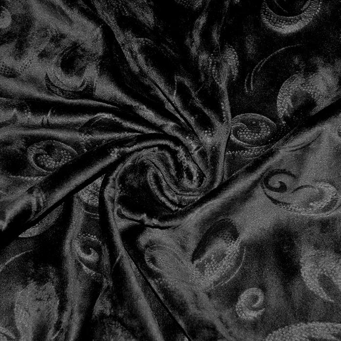 Pliš, poliester, ornamentni, 21863-069, črna