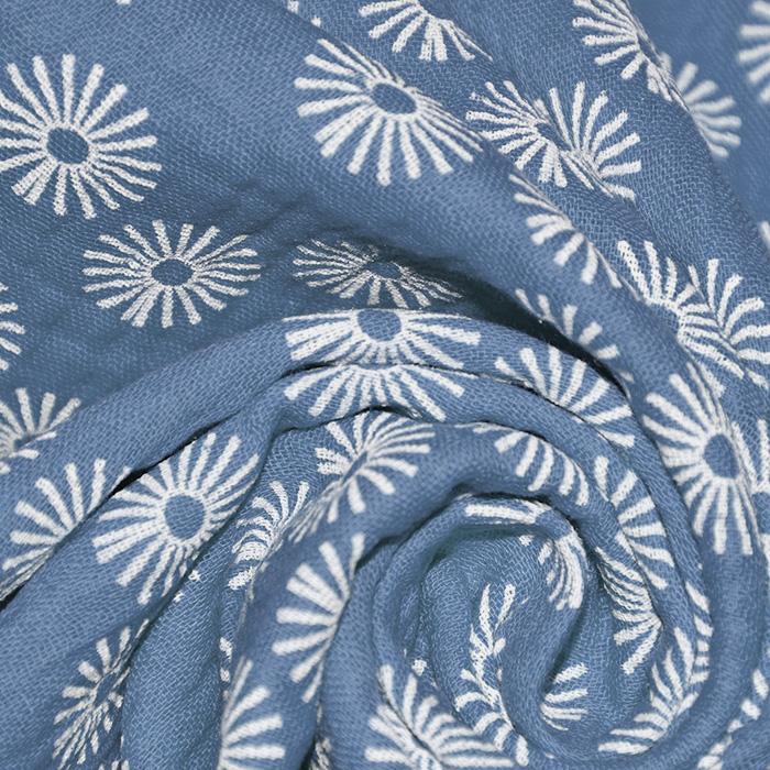 Tetra tkanina, dvojna, cvetlični, 21859-006, modra