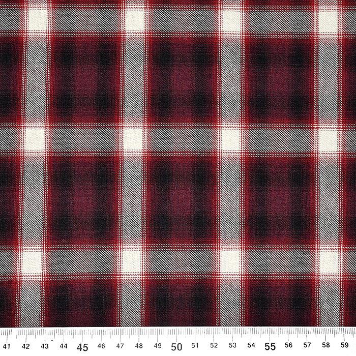 Tkanina, viskoza, volna, karo, 21776-18, rdeča