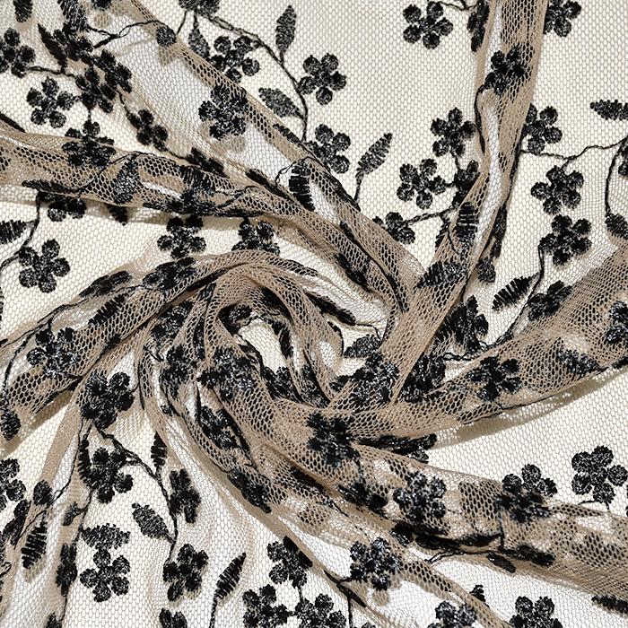 Čipka, prožna, cvetlični, 21906-5001, črno bež