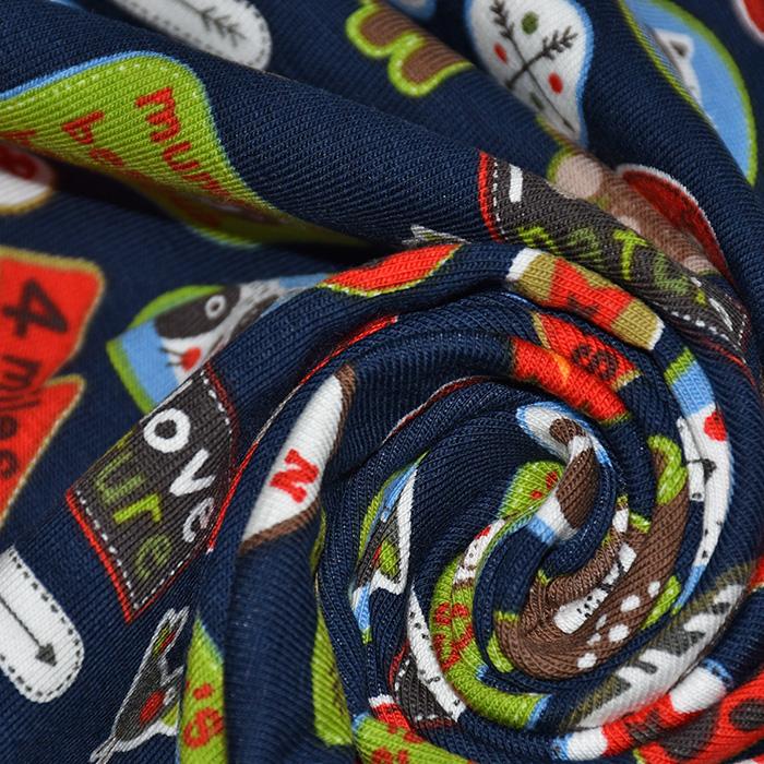 Jersey, bombaž, živalski, 21932-008, modra