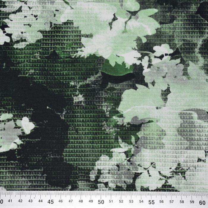 Jersey, bombaž, digital, cvetlični, 21939-003, zelena
