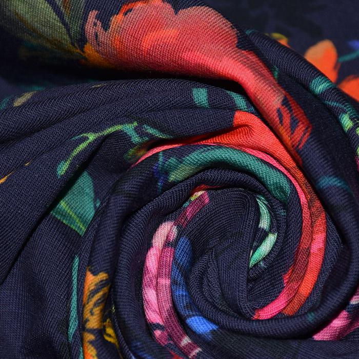 Jersey, bombaž, digital, cvetlični, 21941-001, temno modra