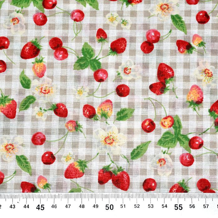 Bombaž, poplin, sadje, 21951-2, bež