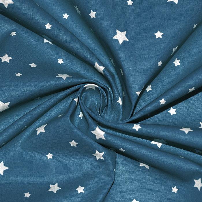Bombaž, poplin, zvezde, 15933-10, modra
