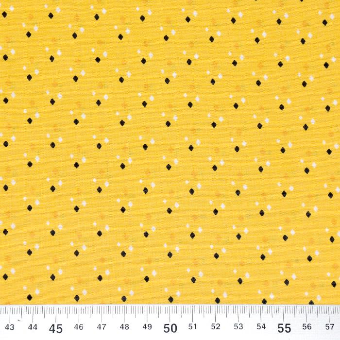 Bombaž, poplin, geometrijski, 22090-88, rumena