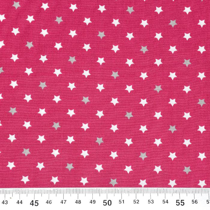 Bombaž, poplin, zvezde, 22093-12, roza