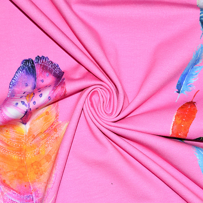 Jersey, bombaž, digital, peresa, 22080-12, roza