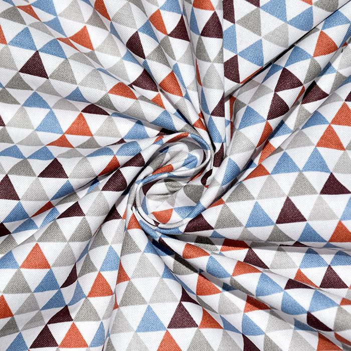 Bombaž, poplin, geometrijski, 20811-6, modro bela