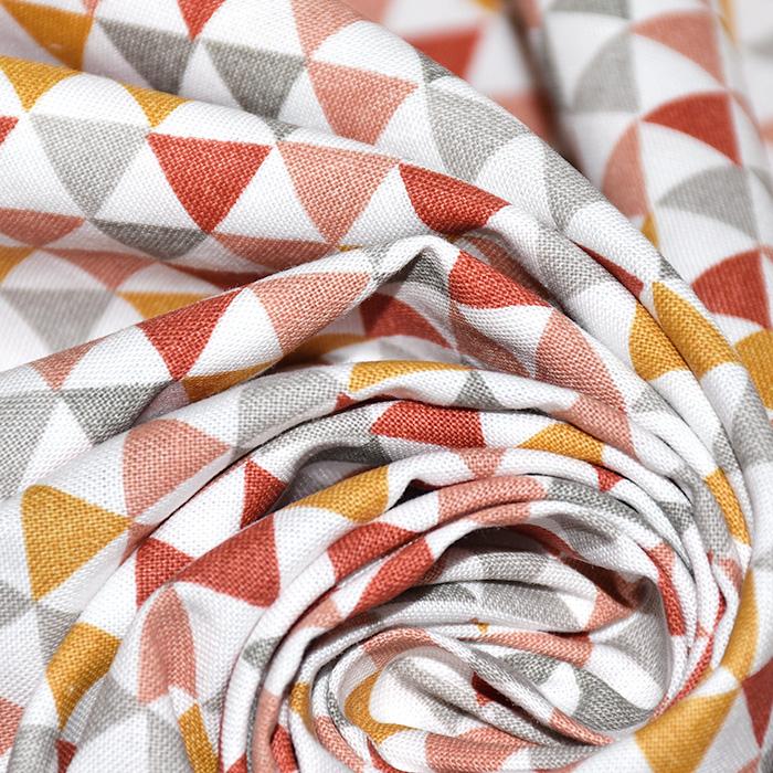 Bombaž, poplin, geometrijski, 20811-5, oranžna