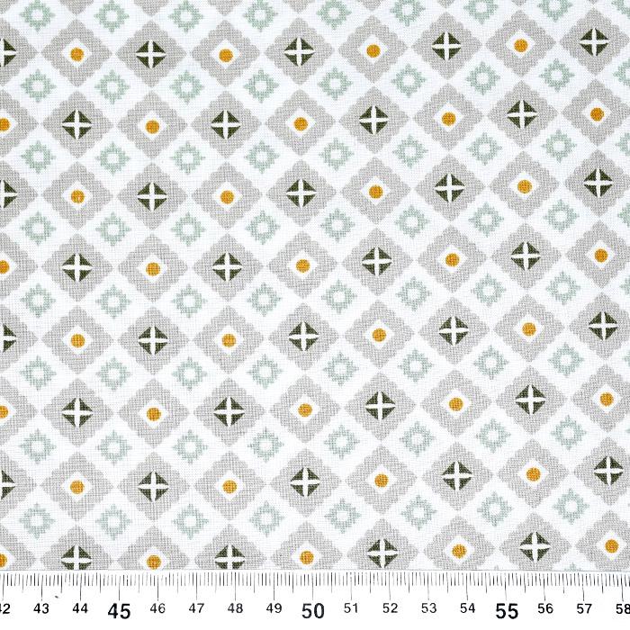 Bombaž, poplin, geometrijski, 22225-1, bela