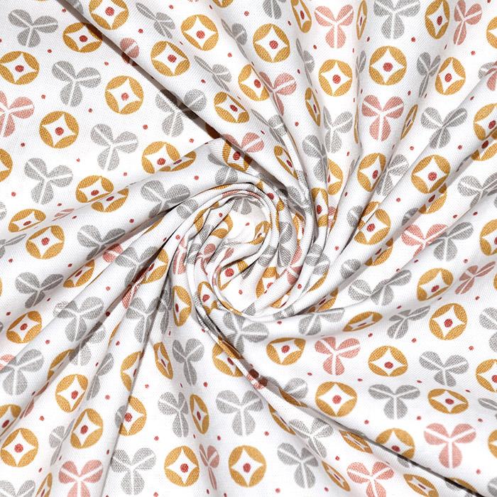 Bombaž, poplin, geometrijski, 22226-4, oranžna