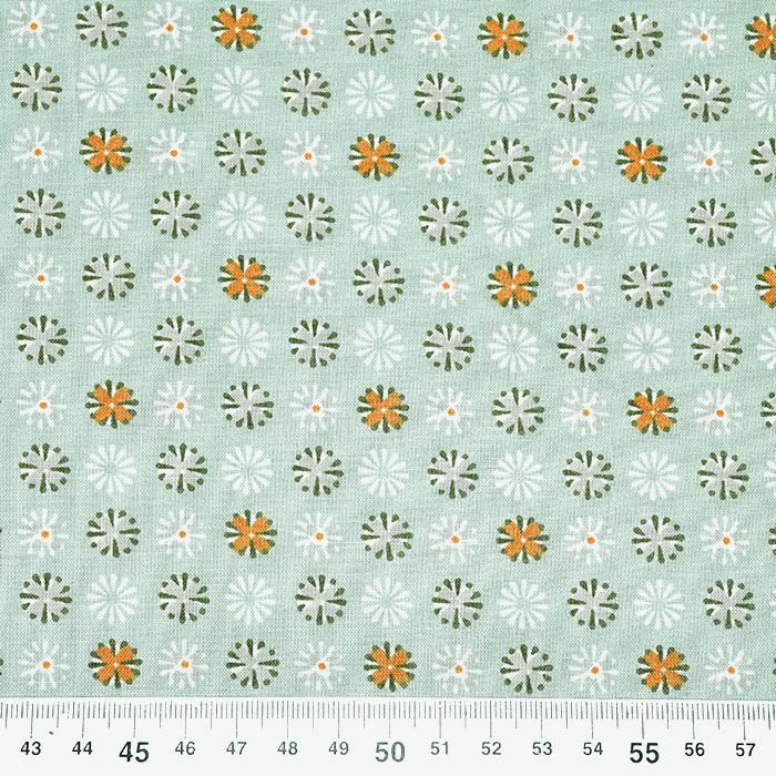Bombaž, poplin, cvetlični, 22227-2, mint