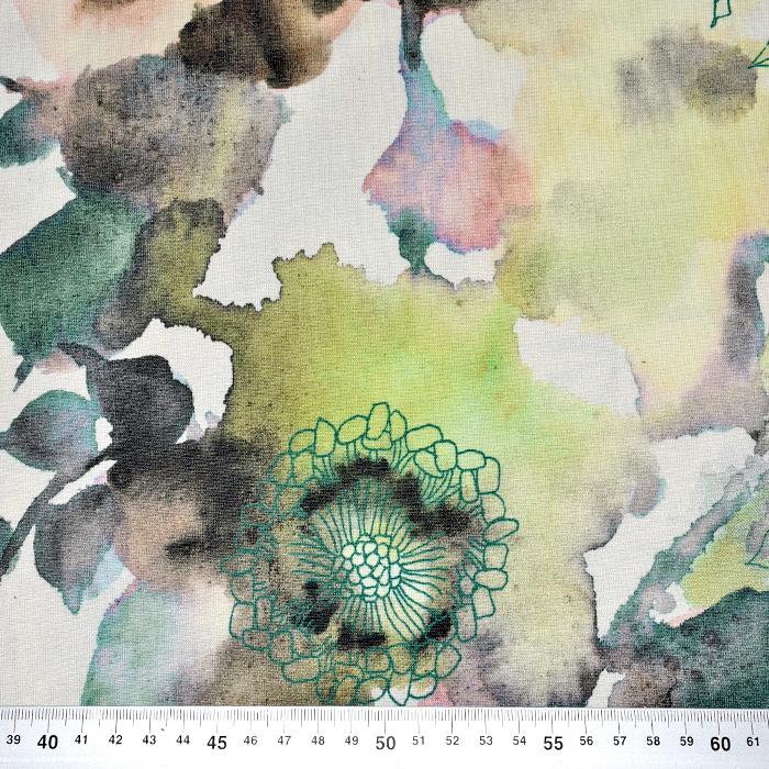 Jersey, viskoza, cvetlični, 21776-89, smetana