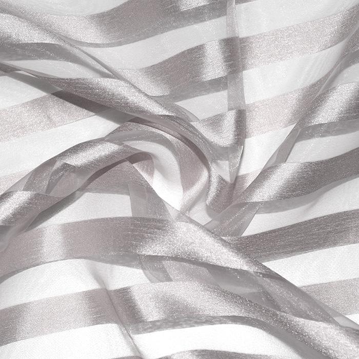 Organza, črte, 22280-1225, srebrna