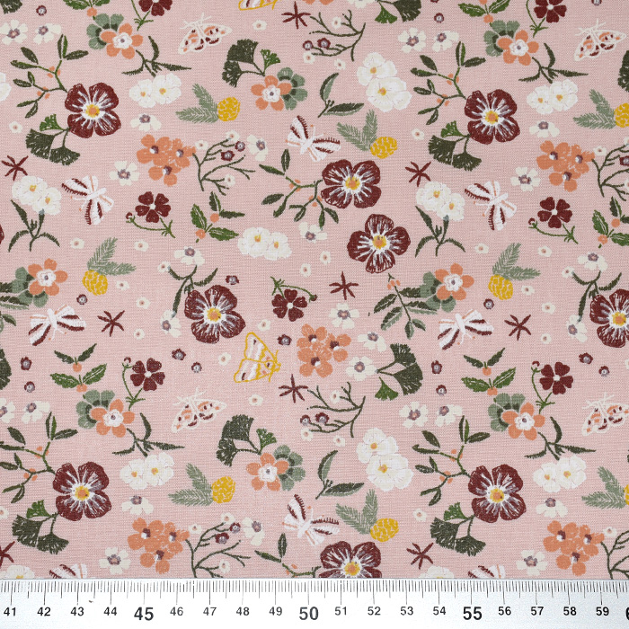 Bombaž, poplin, cvetlični 22346-013, roza