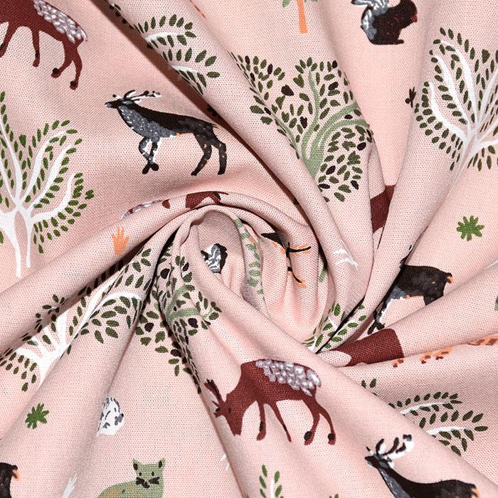 Pamuk, popelin, životinjski, 22346-113, ružičasta