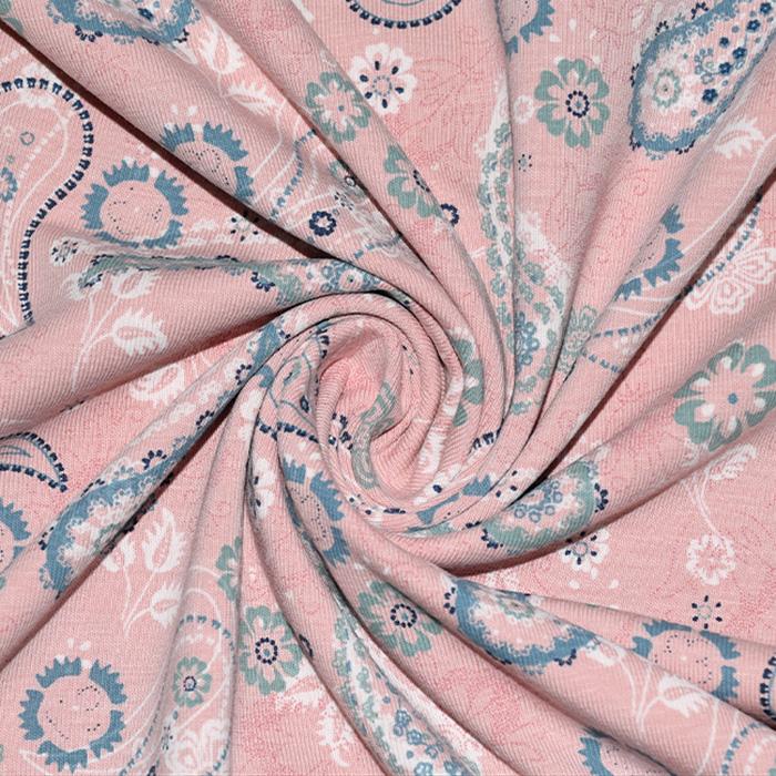 Jersey, bombaž, ornamentni, 22351-013, roza