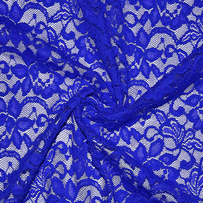 Čipka, elastična, cvetlični, 20083-007, modra