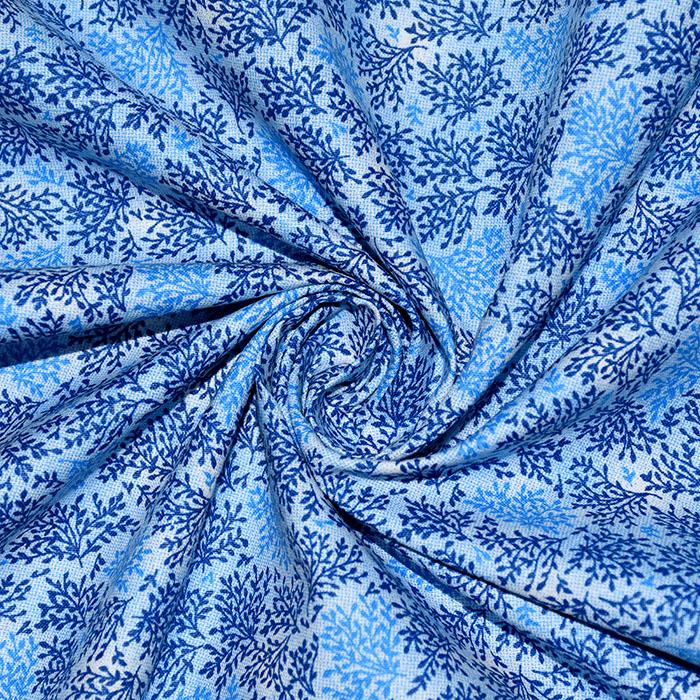 Bombaž, poplin, narava, 22416-22, modra