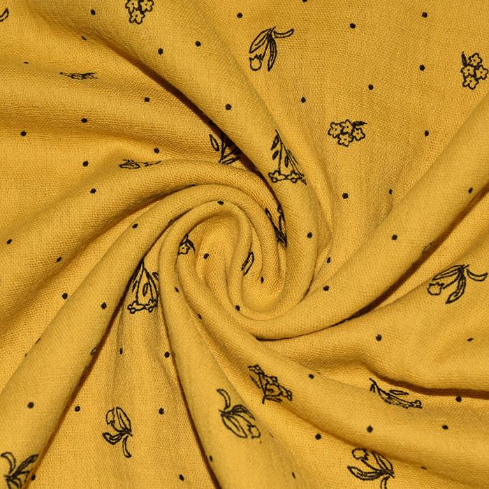 Tetra tkanina, dvojna, cvetlični, 22514-5010, oker