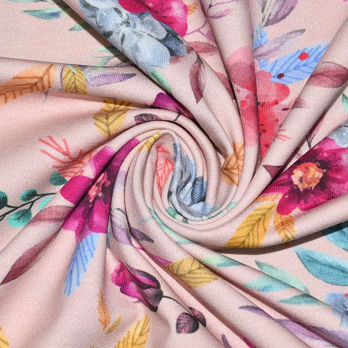 Jersey, pamuk, digital, cvjetni, 22527-005, ružičasta