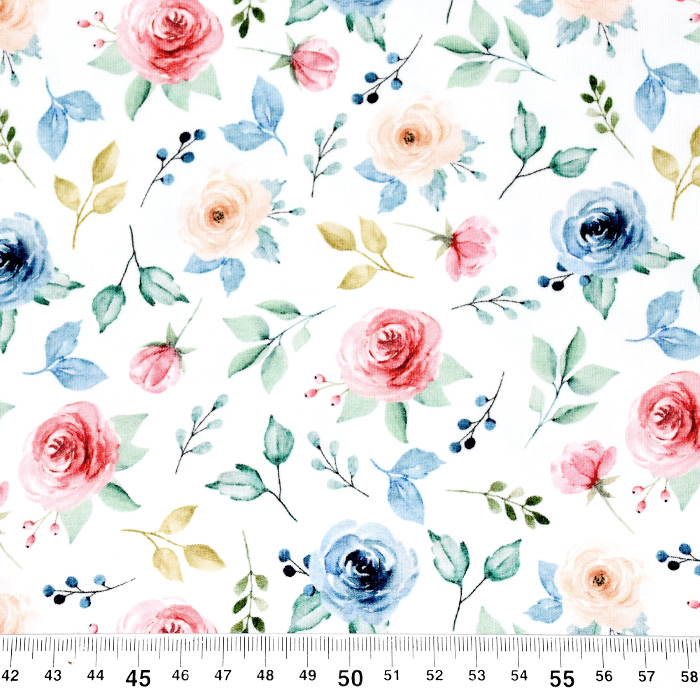 Jersey, bombaž, digital, cvetlični, 22531-02, bela