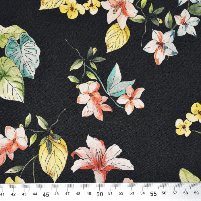 Saten, bombaž, viskoza, cvetlični, 22674-4, črna
