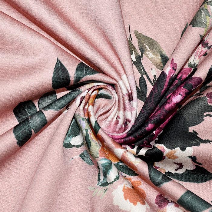 Saten, bombaž, cvetlični, 22675-3, roza