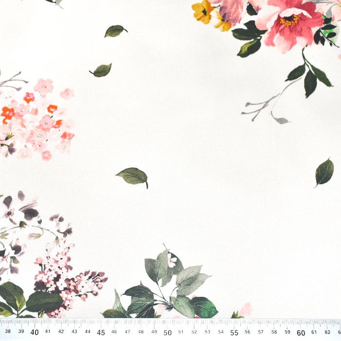 Saten, bombaž, cvetlični, 22675-6, smetana