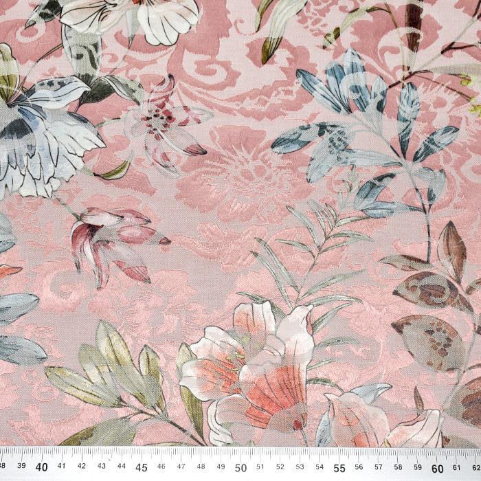 Tkanina, žakard, cvetlični, 22676-1, roza