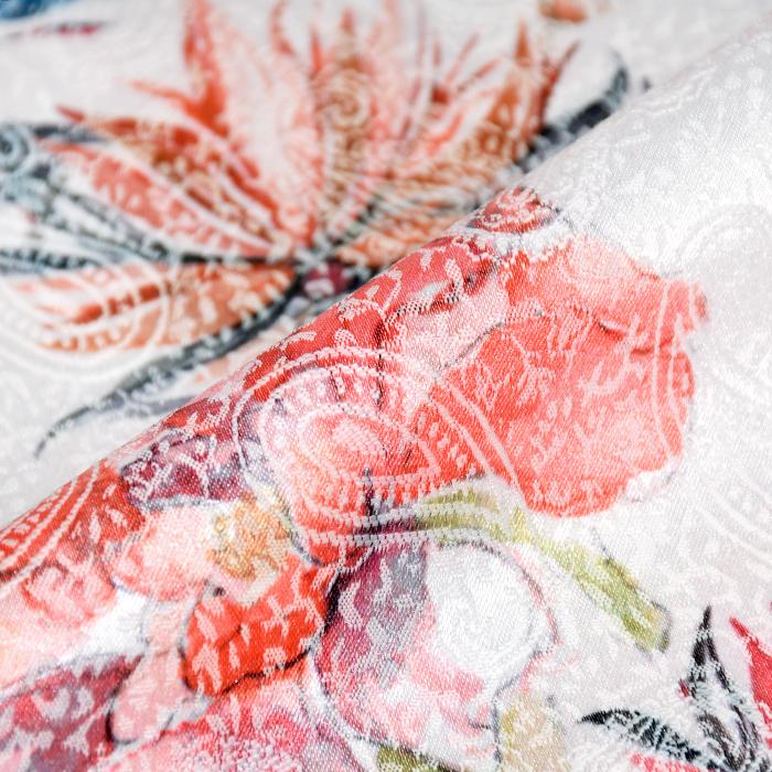 Tkanina, žakard, cvetlični, 22676-3, bela