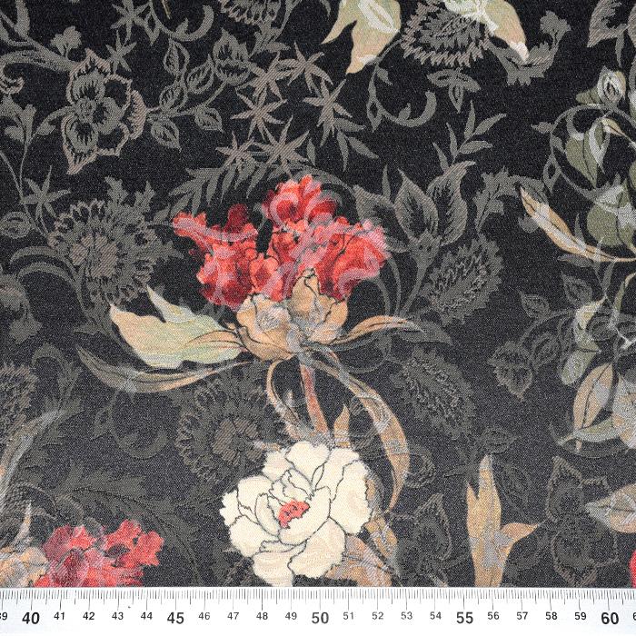 Tkanina, žakard, cvetlični, 22676-4, črna