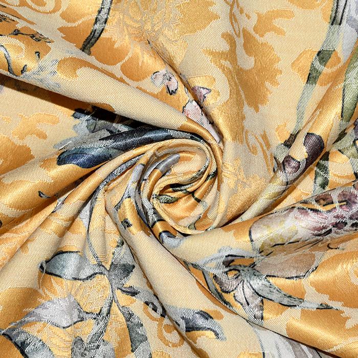 Tkanina, žakard, cvetlični, 22676-6, rumena
