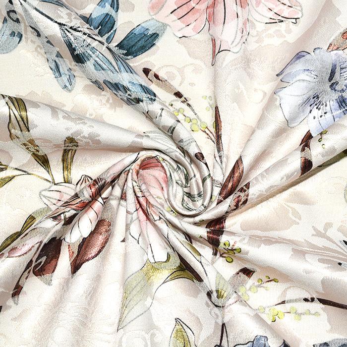 Tkanina, žakard, cvetlični, 22676-7, smetana
