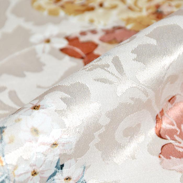 Tkanina, žakard, cvetlični, 22676-9, smetana