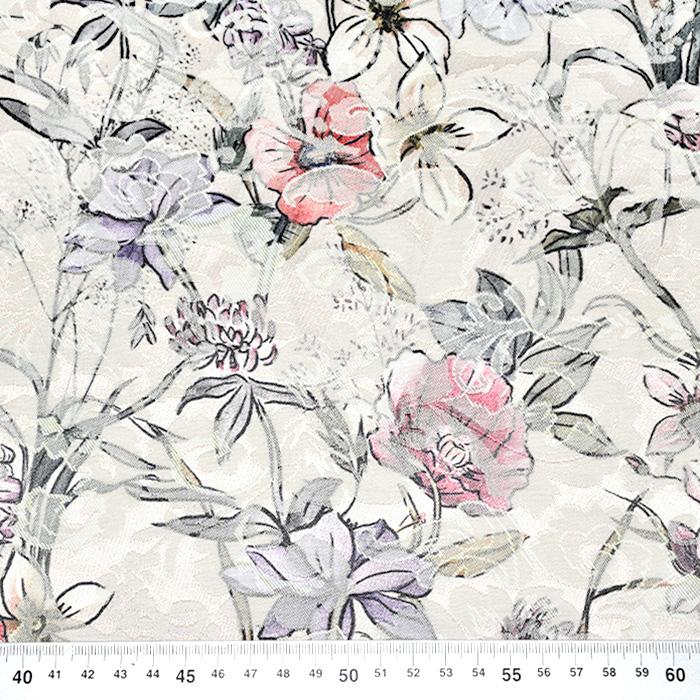 Tkanina, žakard, cvetlični, 22676-12, smetana