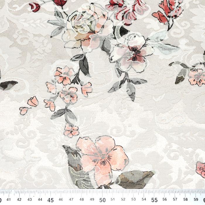 Tkanina, žakard, cvetlični, 22676-14, smetana