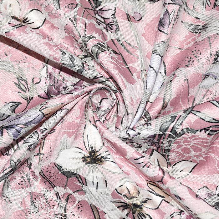 Tkanina, žakard, cvetlični, 22676-15, roza