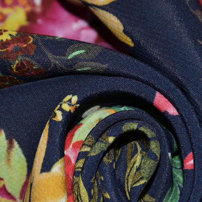 Tkanina, viskoza, cvetlični, 22684-2, temno modra