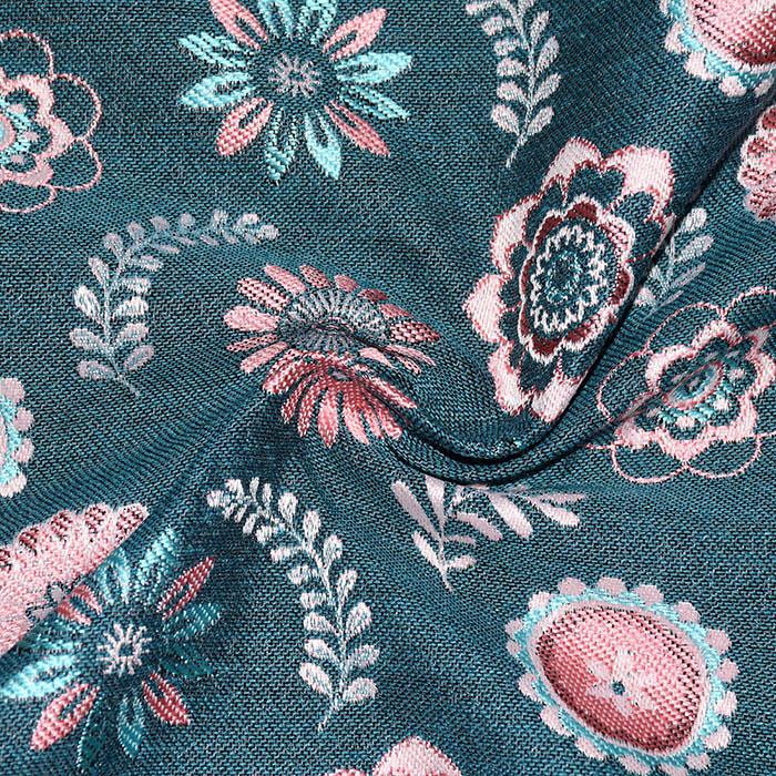 Deko žakard, cvjetni, 22697-3, tirkizno-ružičasta