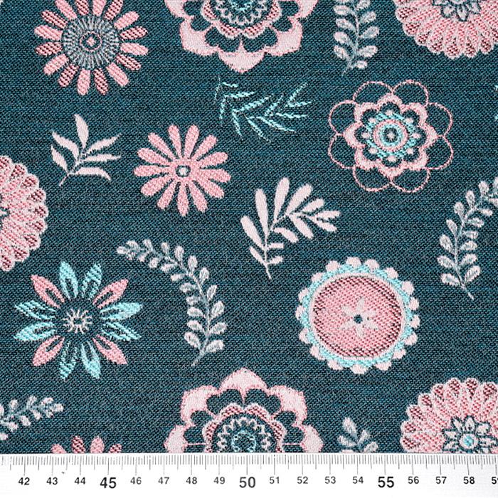 Deko žakard, cvetlični, 22697-, turkizno-roza